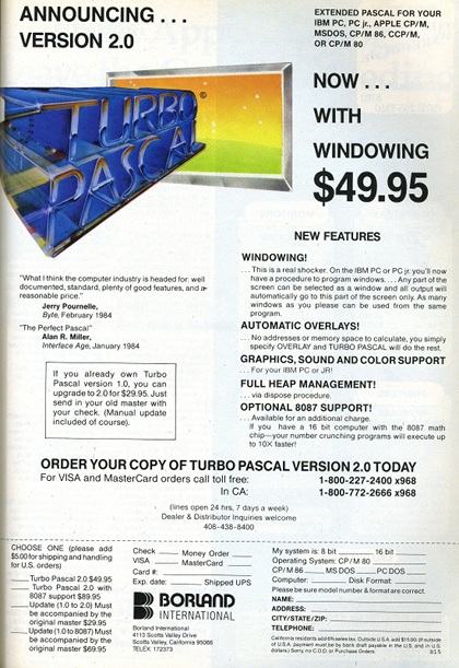 Turbo Pascal 2 Advertisement.